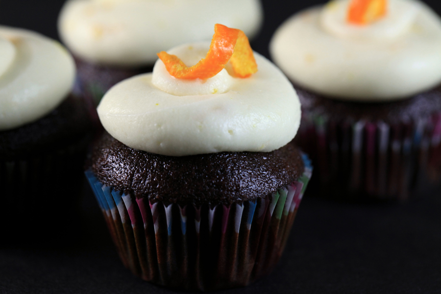 Chocolate Cupcakes with Orange Cream Cheese Frosting | Tasty Pursuits